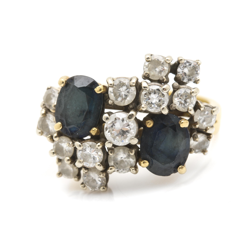 18K Yellow Gold Sapphire and 1.12 CTW Diamond Ring