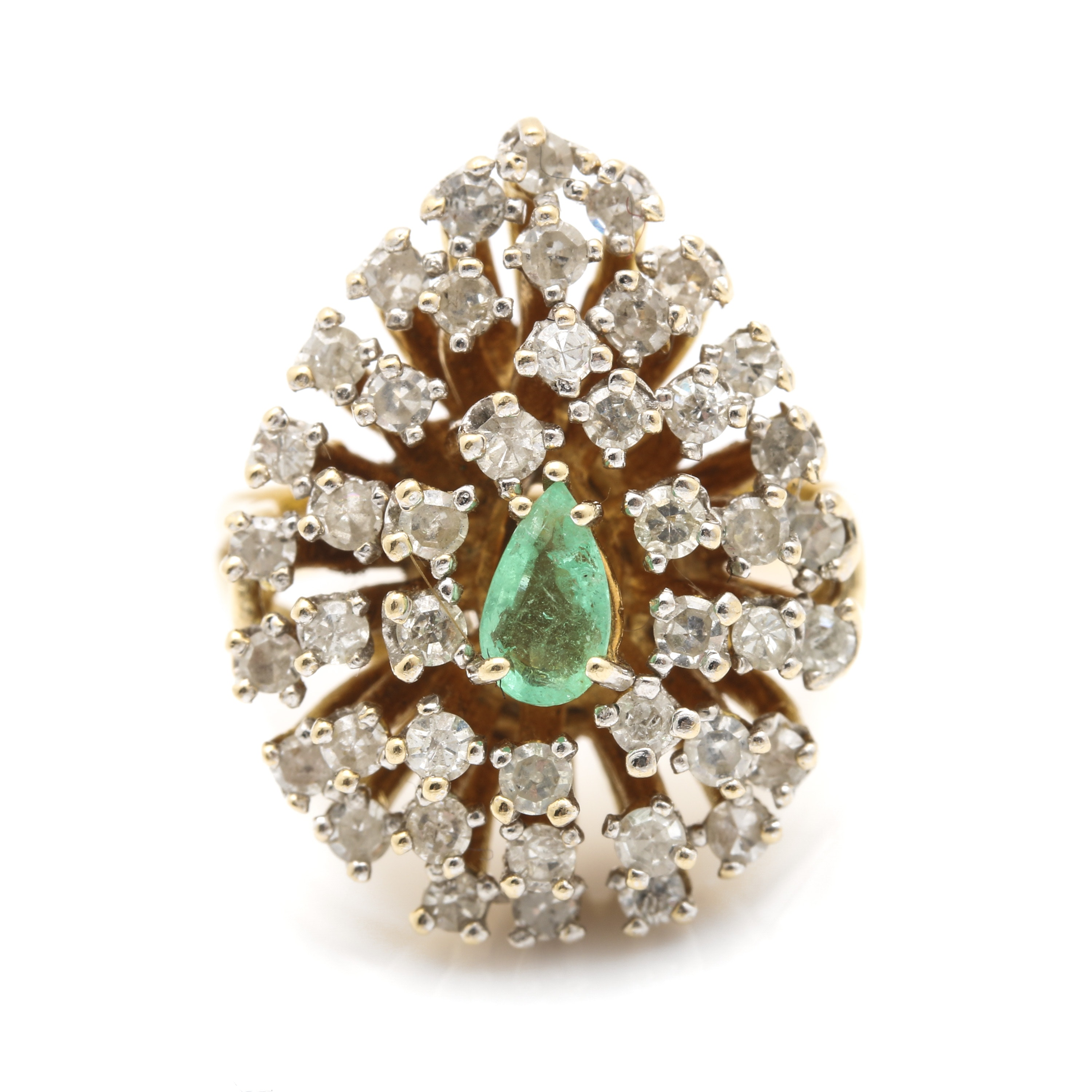 14K Yellow Gold Emerald and 1.21 CTW Diamond Statement Ring