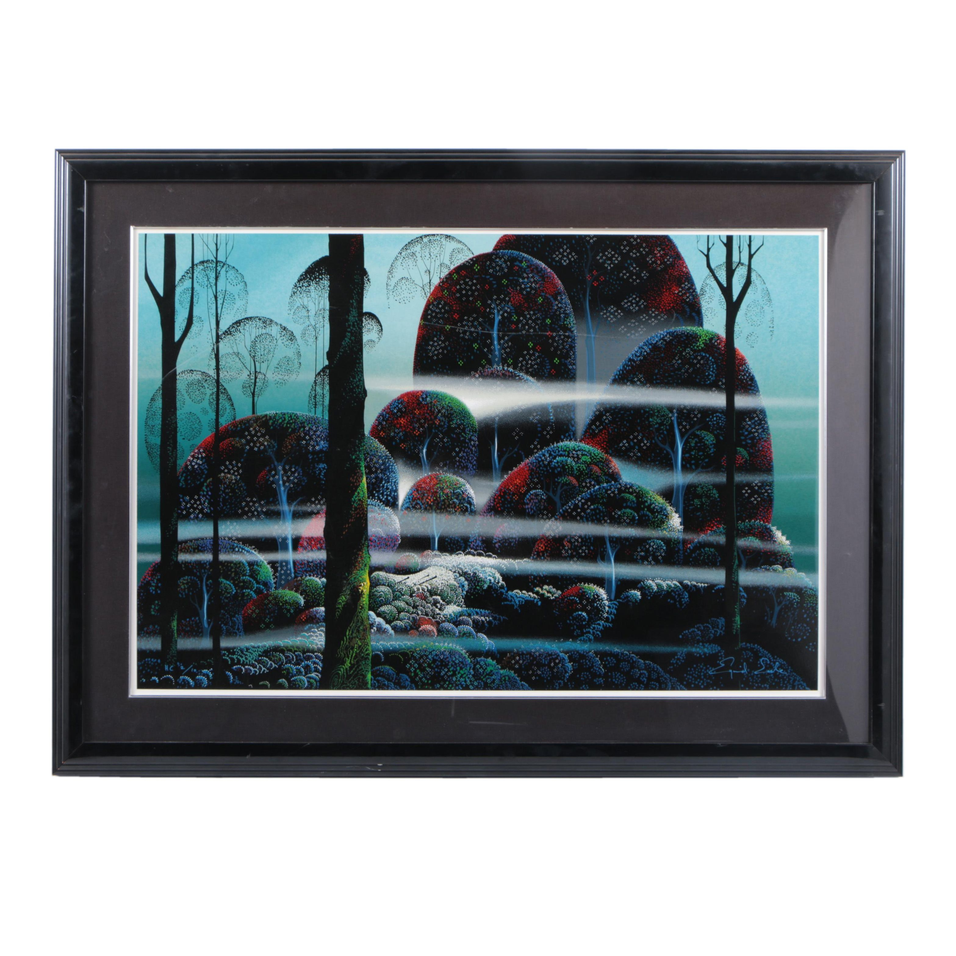 Eyvind Earle Limited Edition Serigraph of Forest Scene