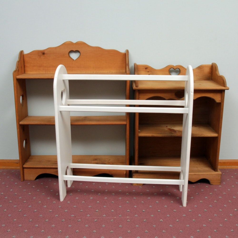 Country Style Bookcases and Quilt Rack