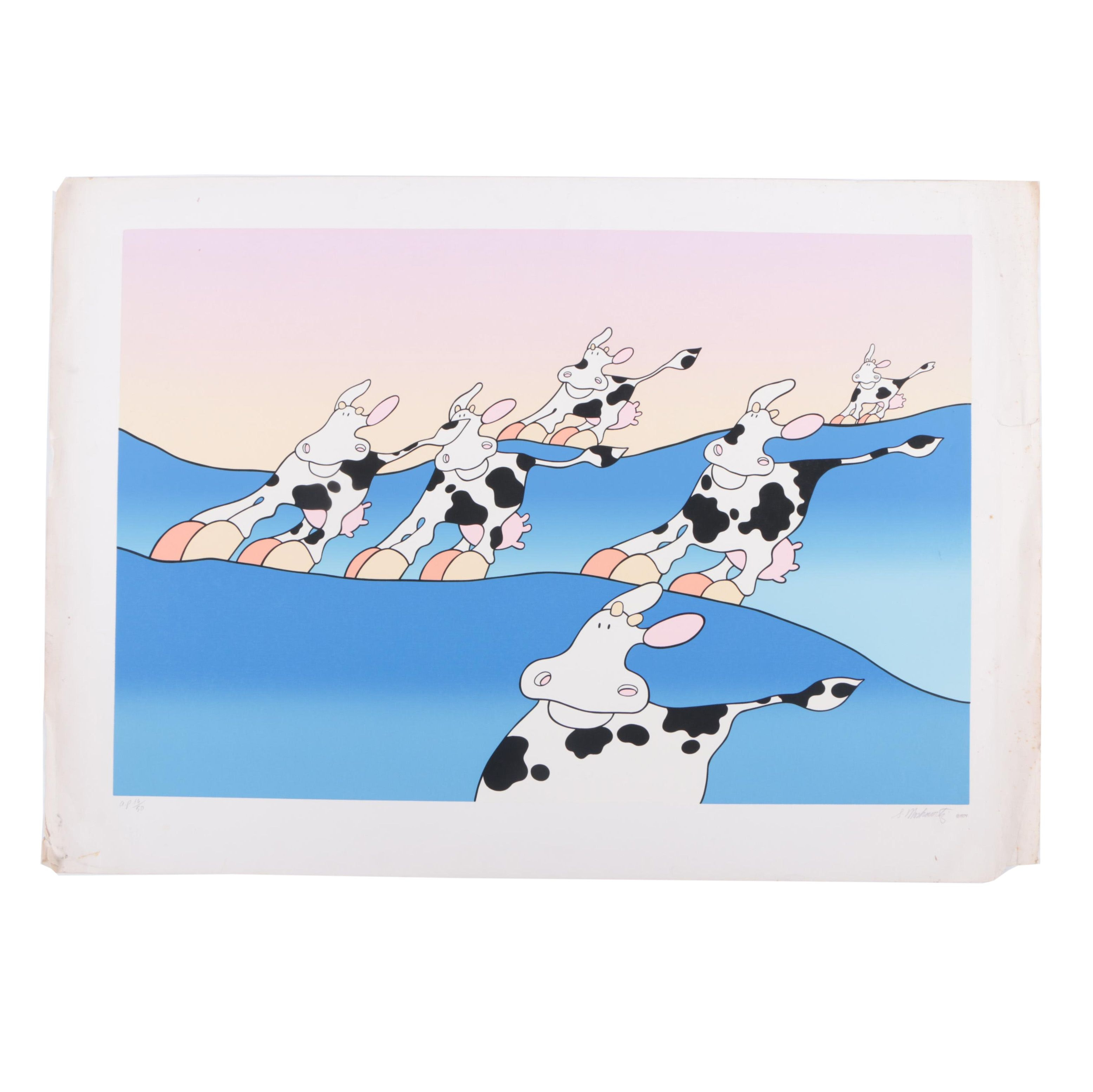 Stewart Moskowitz Limited Edition Serigraph Print Cows
