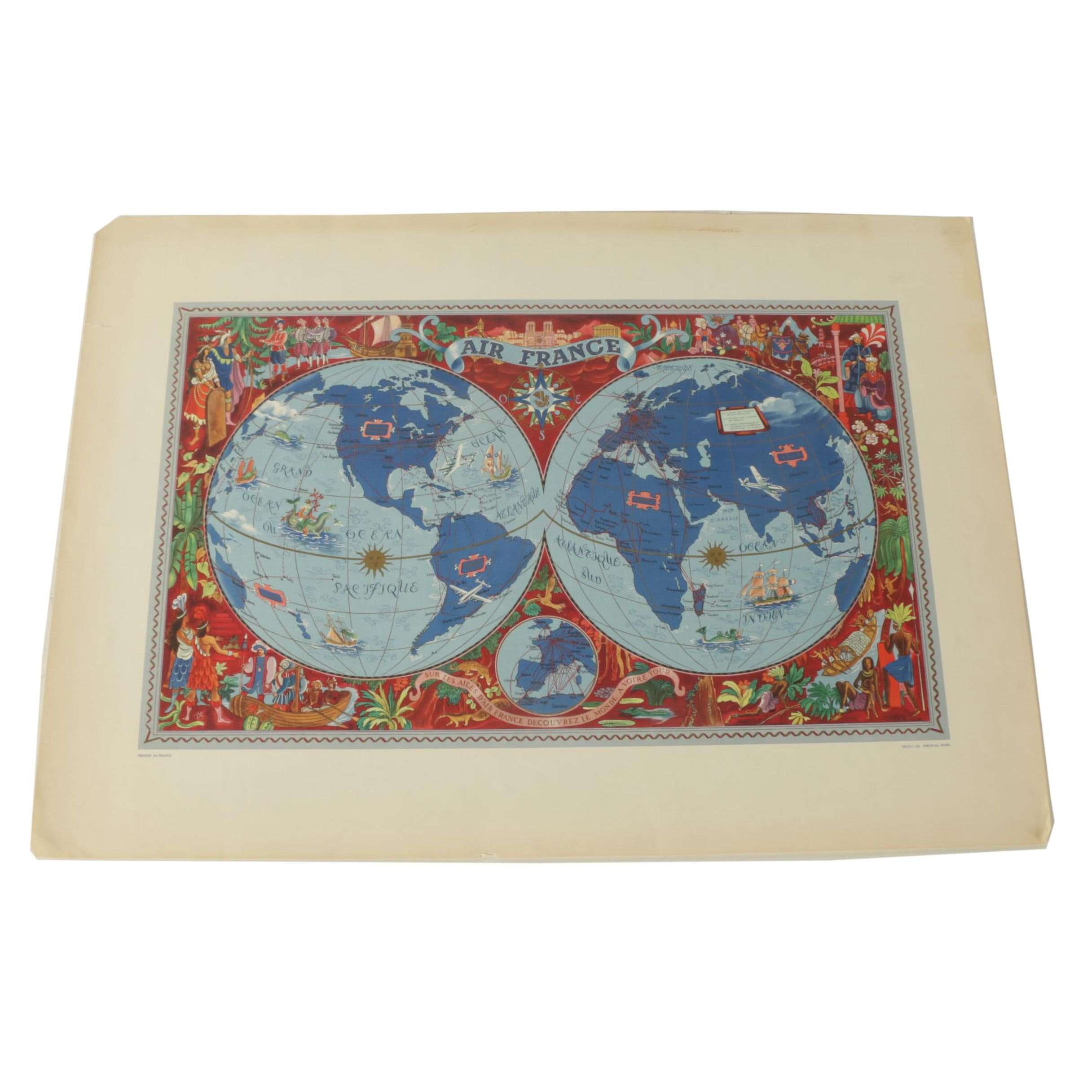 "Reproduction Print after Lucien Boucher ""Air France"" Map"