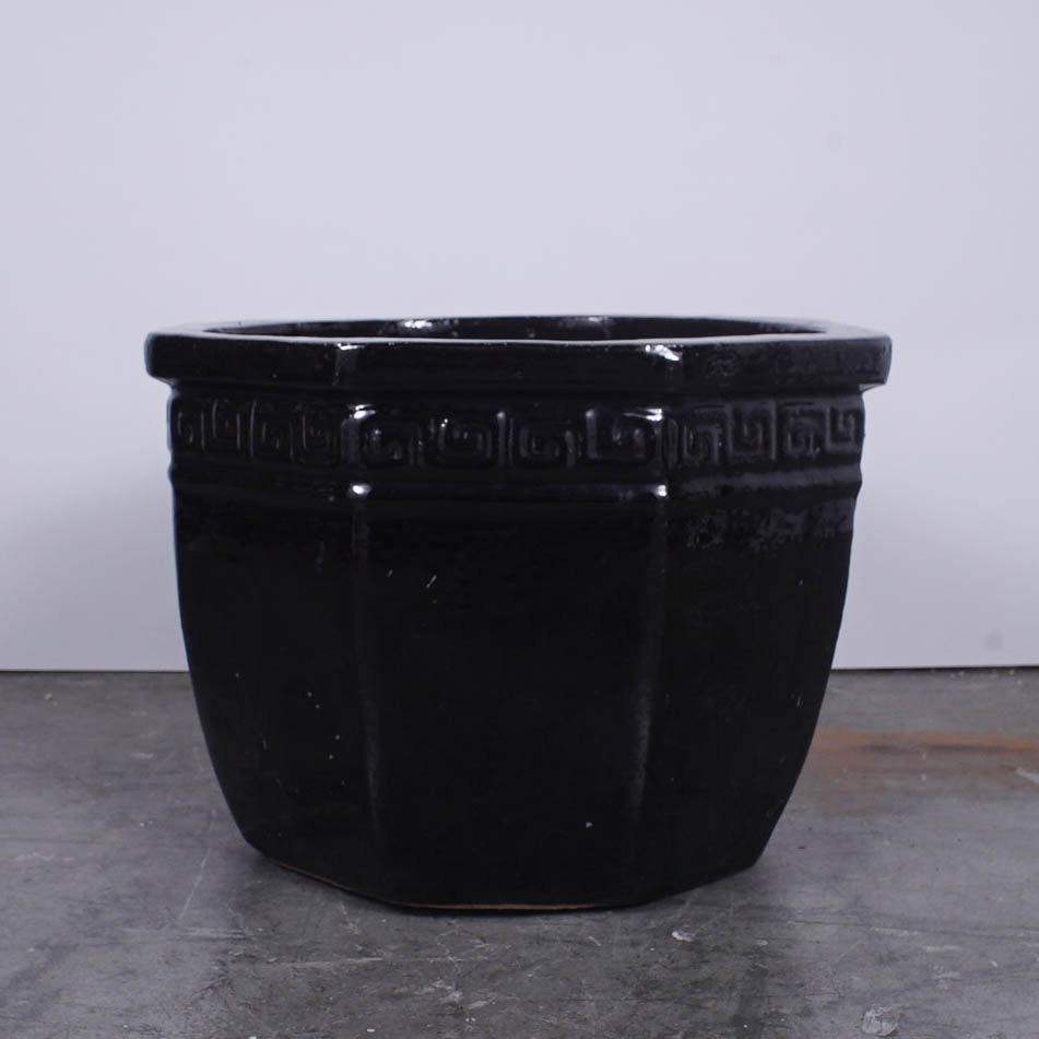 Black Octagonal Planter