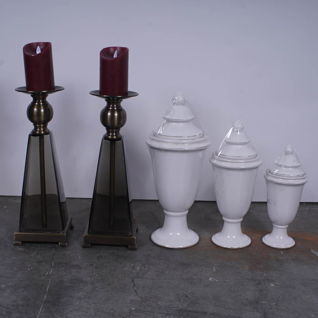 Candle Holders and Covered Urn Set