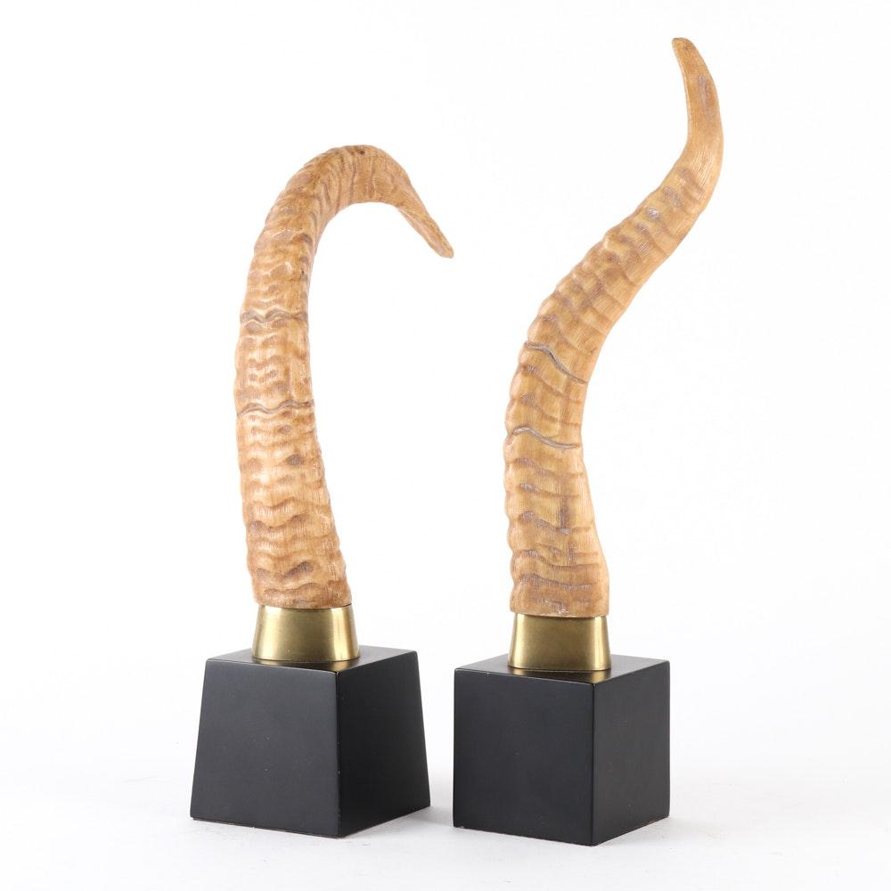Ornamental Resin Horn Sculptures