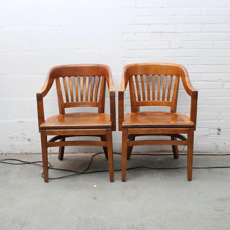 Vintage Maple W. H. Gunlocke Bankers Chairs ...