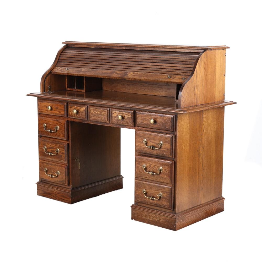 Broyhill Oak Roll Top Desk Ebth