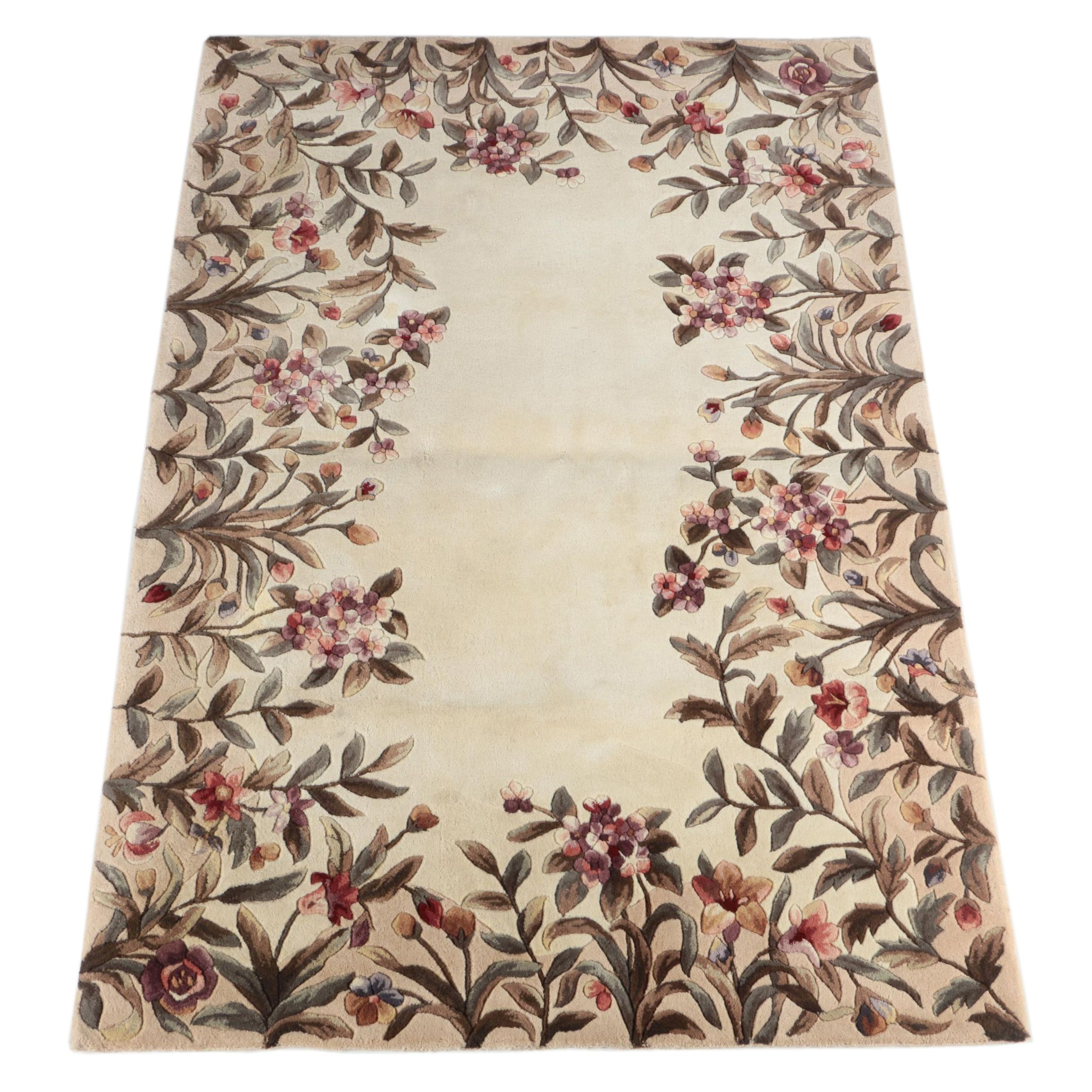Emerald Collection Carved Wool Floral Area Rug