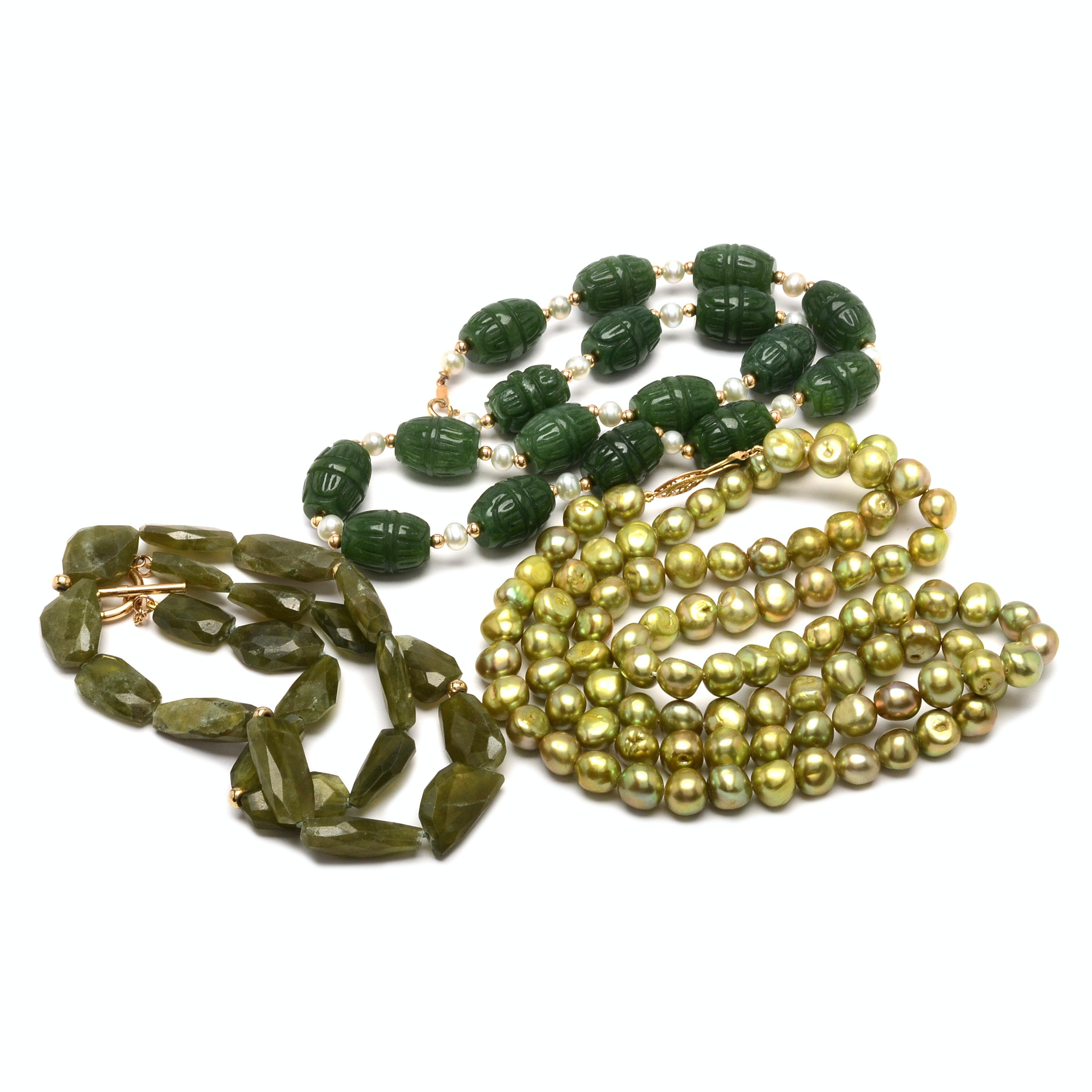 14K Gold and Green Gemstone Necklaces
