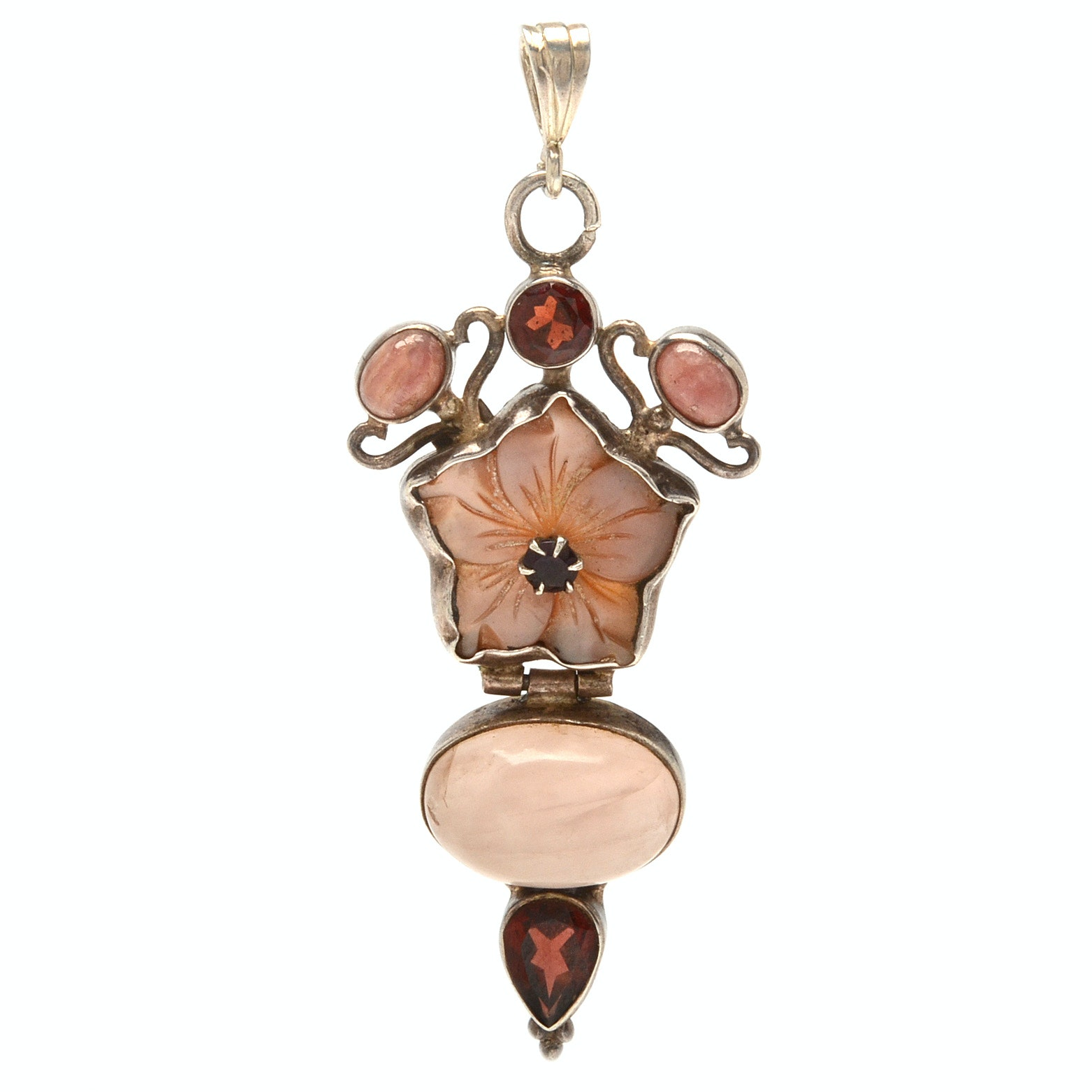 Sterling Silver Rose Quartz and Garnet with Carnelian Pendant