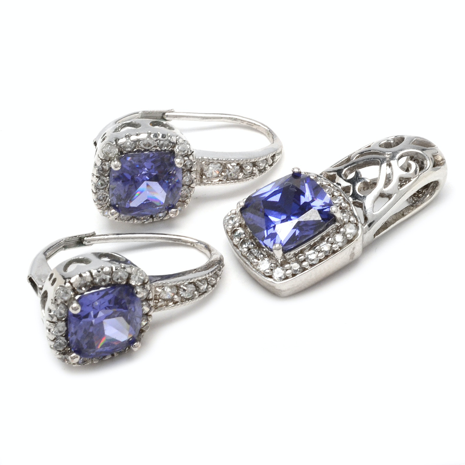Sterling Silver Jewelry with Simulated Blue Topaz and Cubic Zirconias