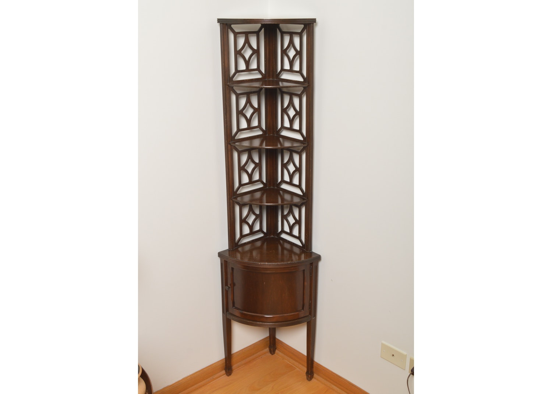 Vintage Chinese Chippendale Mahogany Corner Display