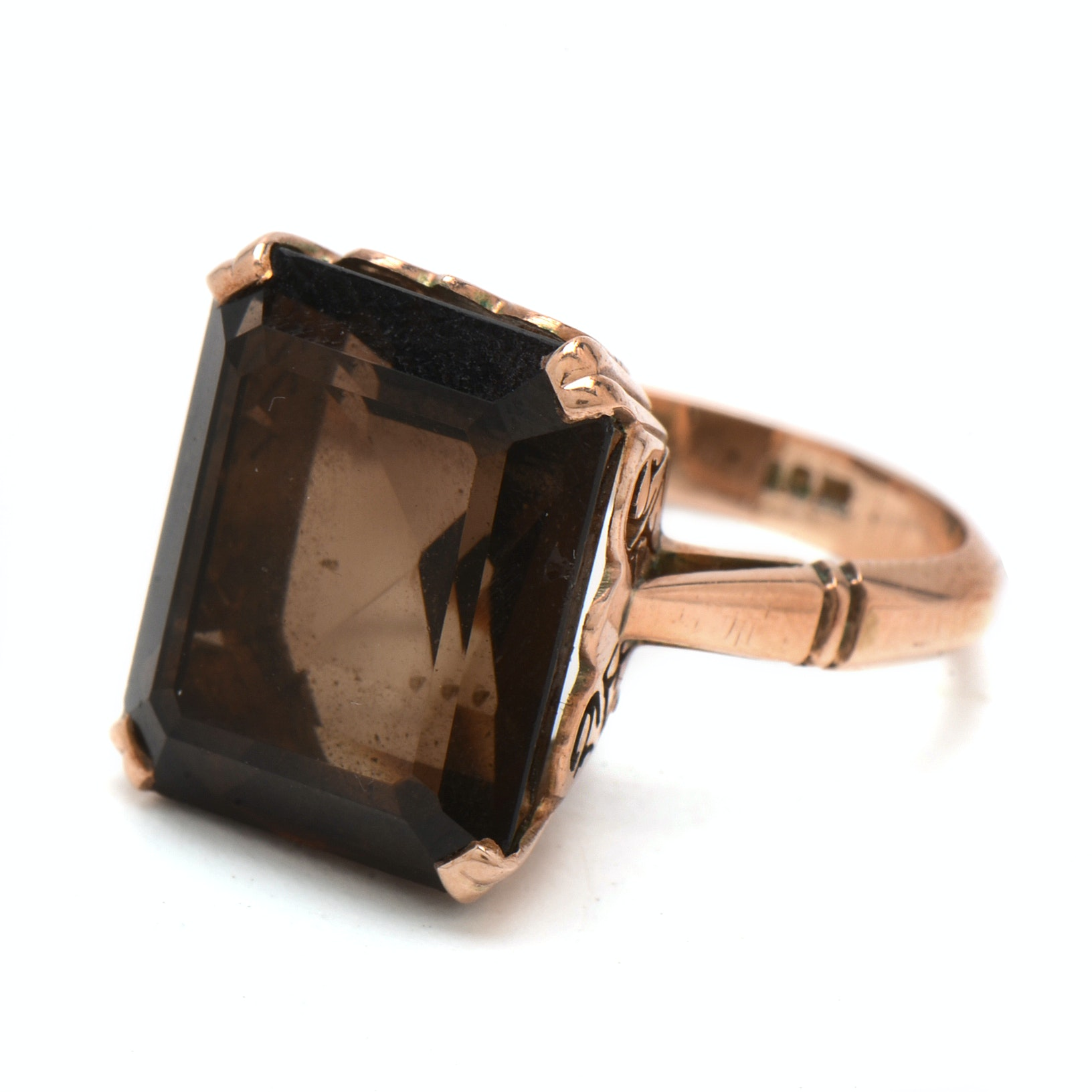 Early 20th Century 10K Rose Gold Smoky Quartz Ring