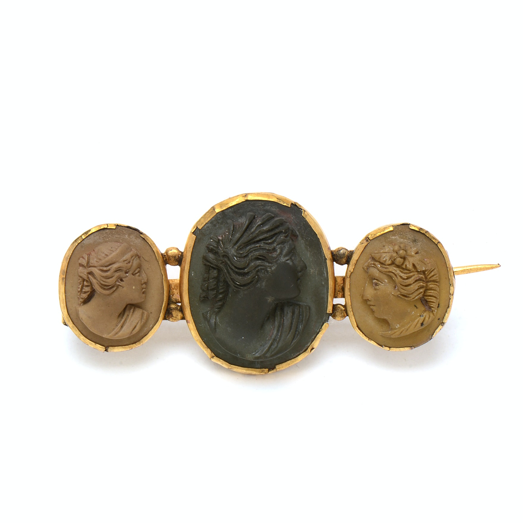 Victorian Gold-Filled Carved Lava Stone Cameo Bar Brooch