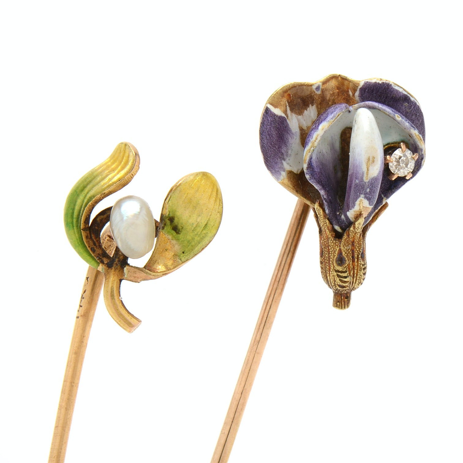 A Pair of Vintage 14K Yellow Gold Diamond, Seed Pearl and Enameled Stick Pins