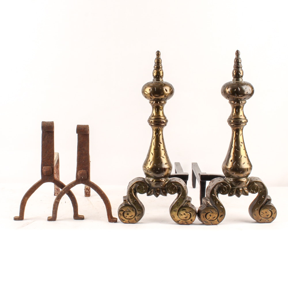 Antique Metal and Brass Andirons