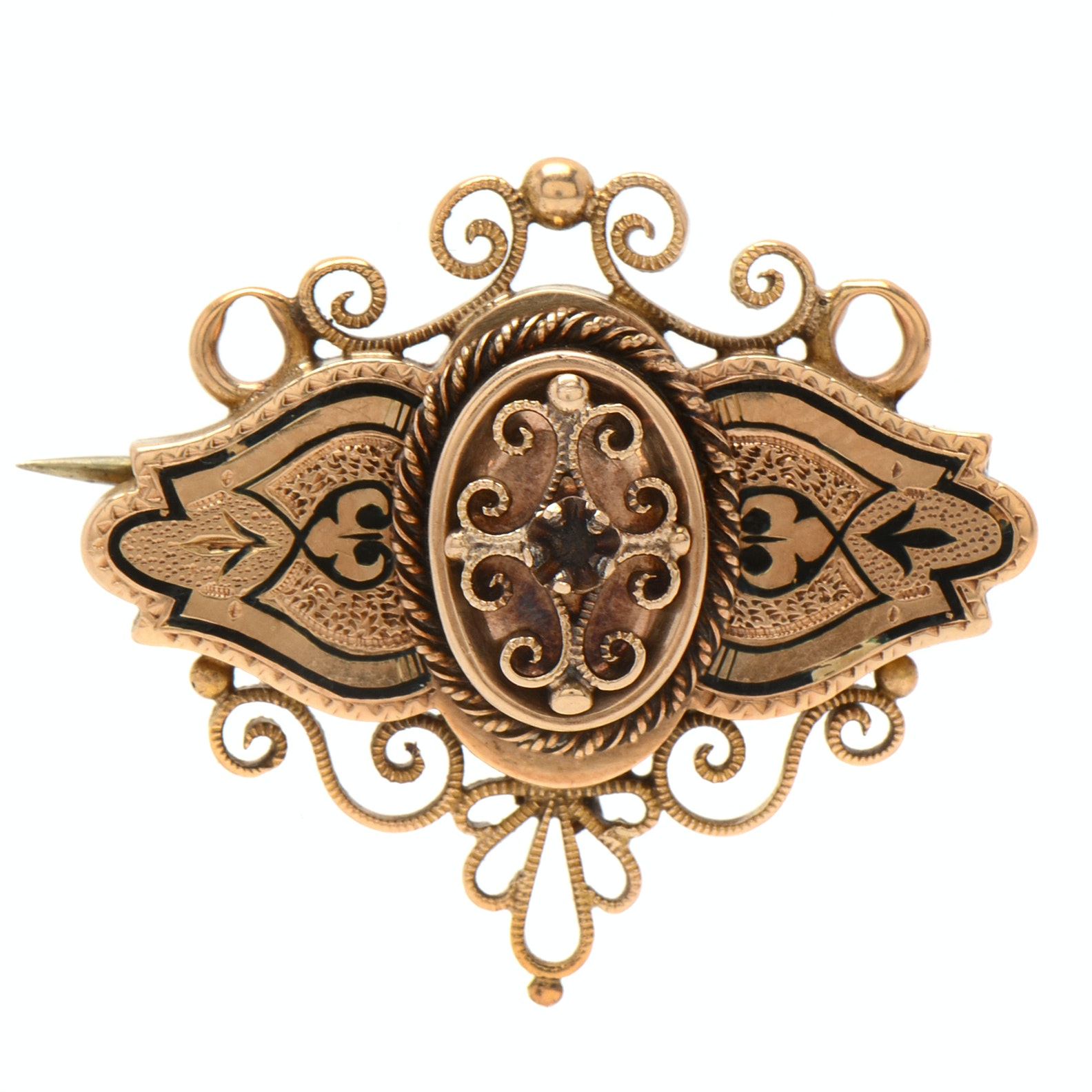 Victorian 14K Rose Gold Black Enamel Brooch Pendant