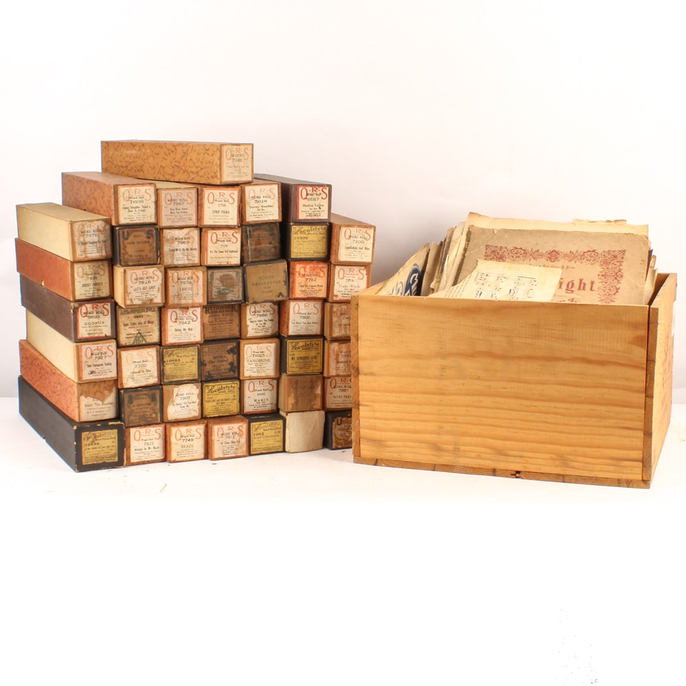 Vintage Player Piano Rolls and Sheet Music