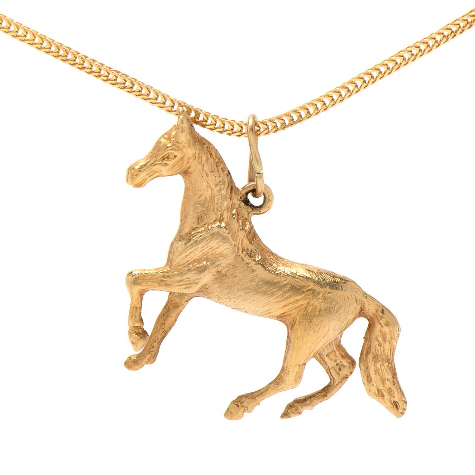 14K Yellow Gold Figural Horse Pendant Necklace