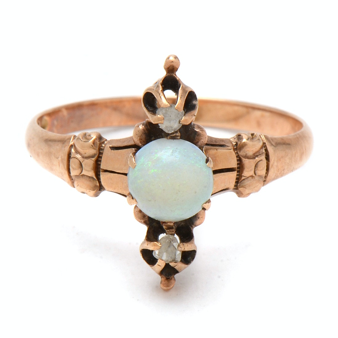 Antique 10K Yellow Gold Opal and Diamond Ring