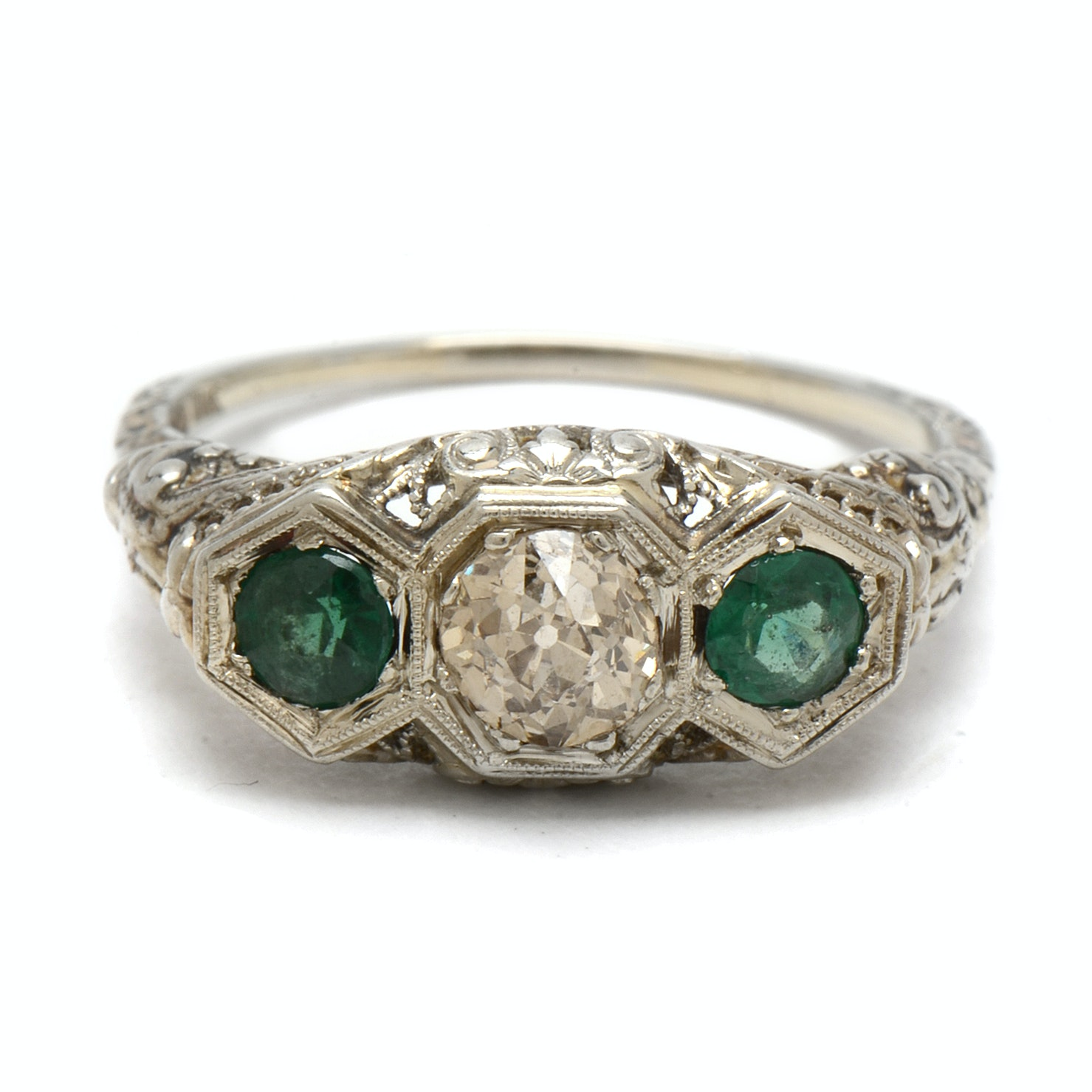 Late Edwardian 18K White Gold Diamond and Green Garnet Doublet Filigree Ring