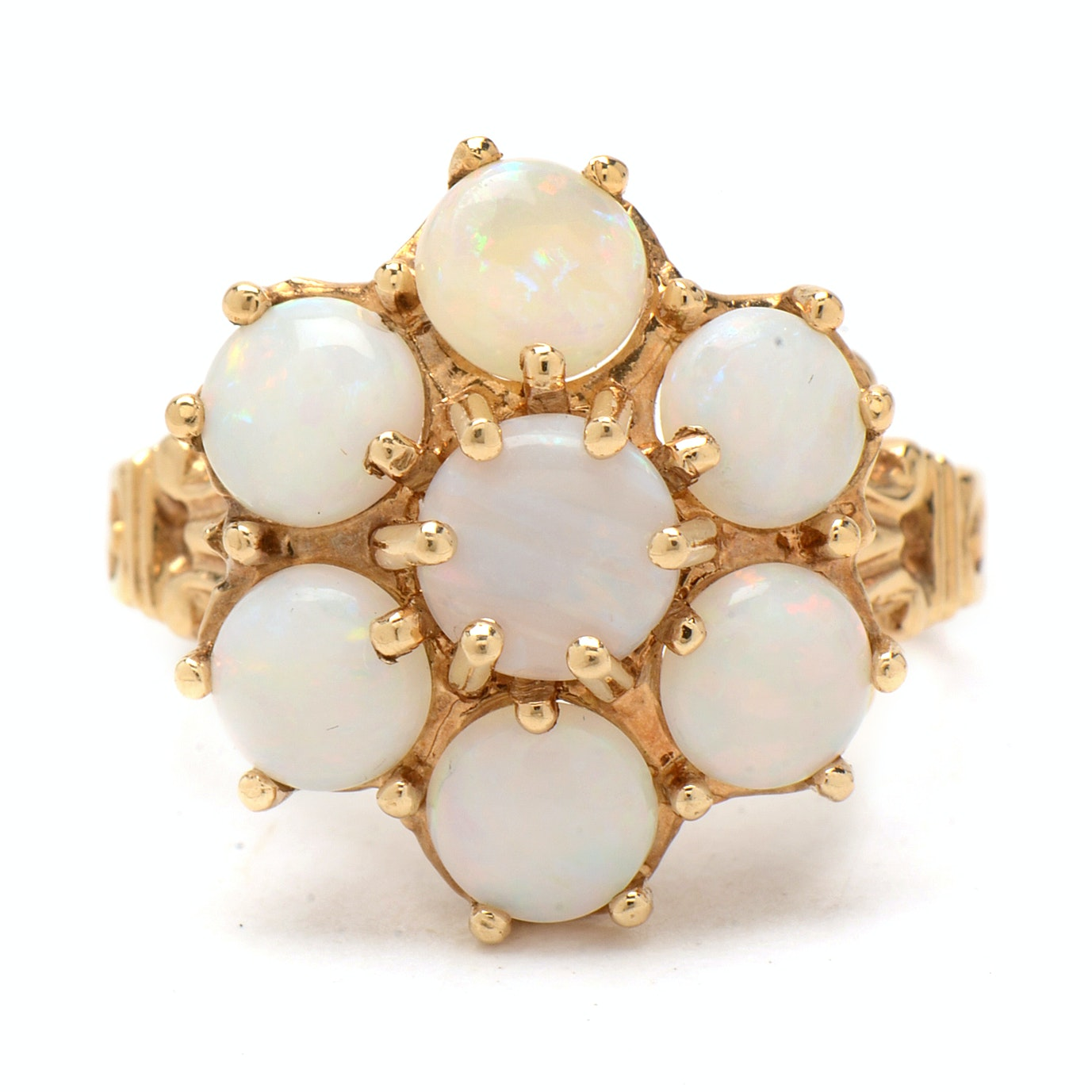 14K Yellow Gold Ring Featuring Seven Opal Cabochons