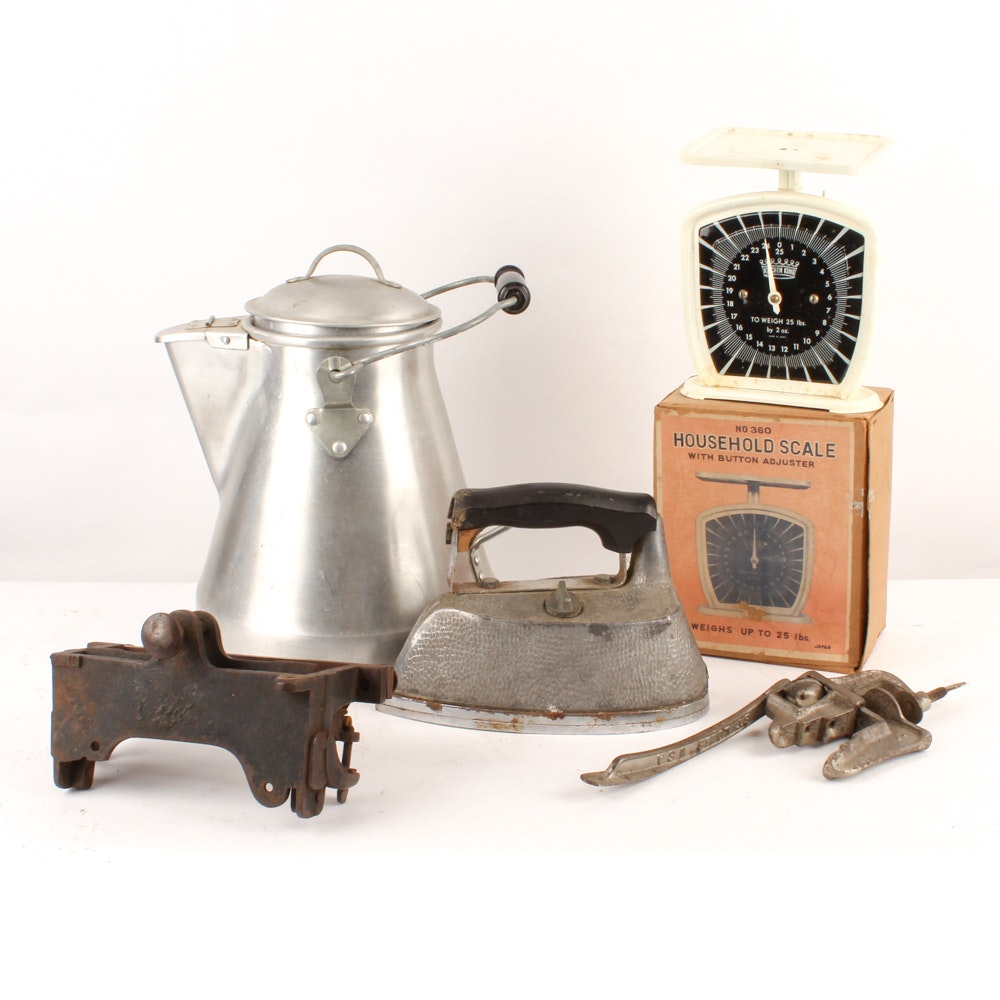 Vintage Scale, Percolator and Other Household Items