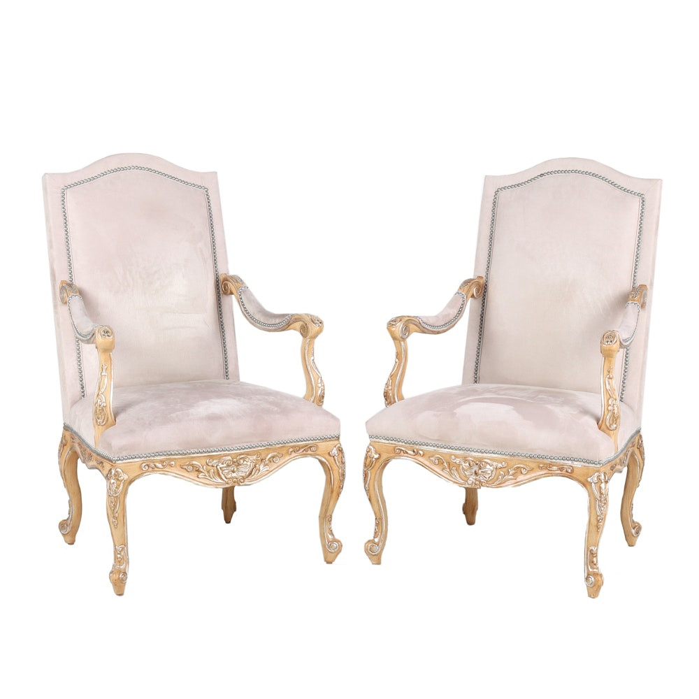 Pair of French Régence Style Arm Chairs
