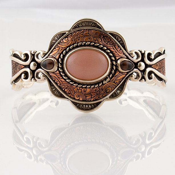 Carolyn Pollack Sterling and Copper Smoky Quartz and Moonstone Cuff Bracelet