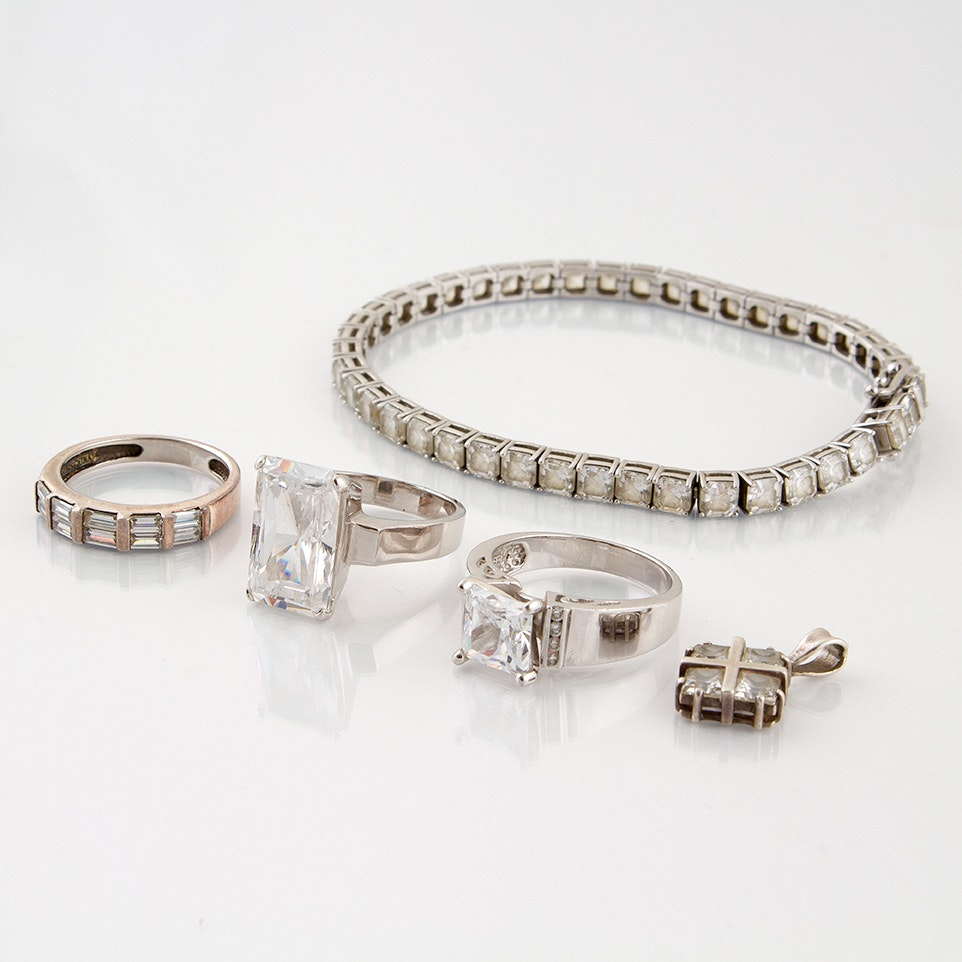 Sterling Silver Jewelry Featuring Cubic Zirconia