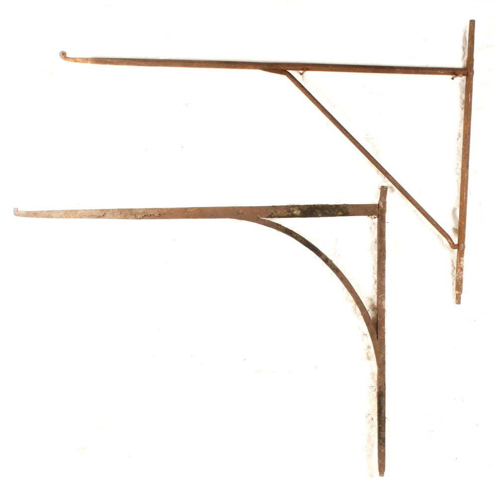 Antique Hand-Forged Fireplace Cranes