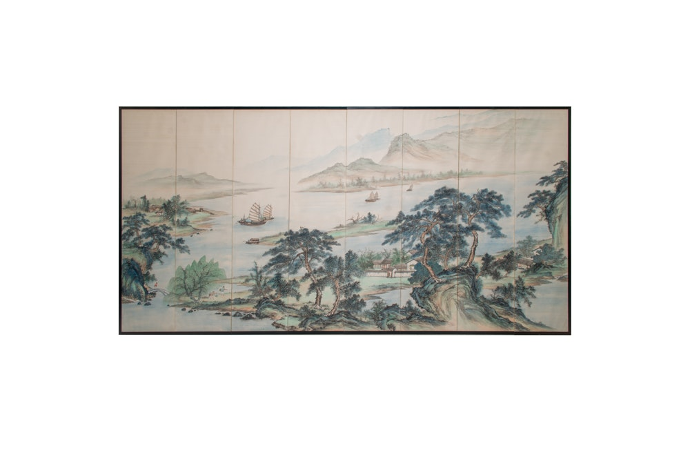 East Asian Style Panel Painting of Landscape Scene
