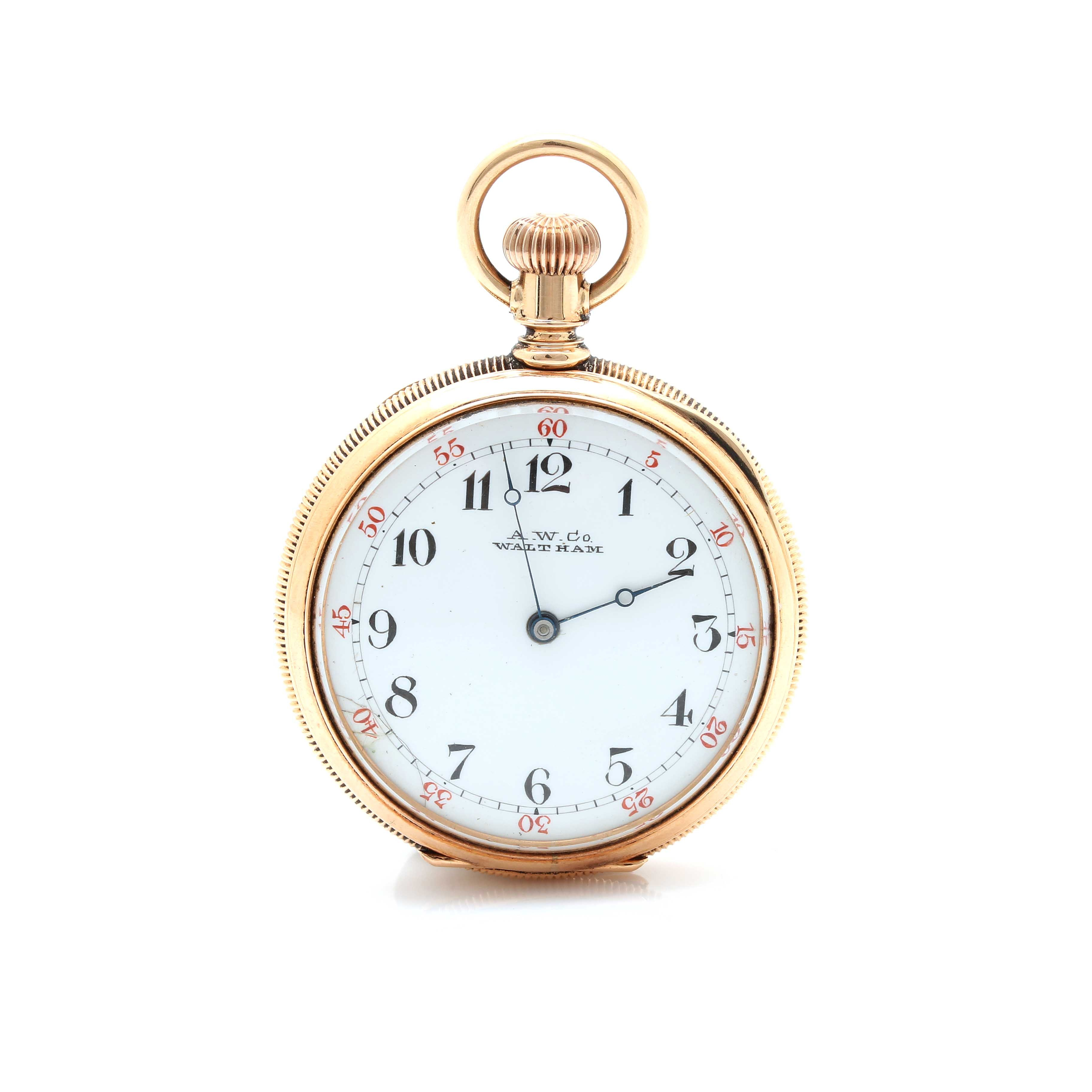 Antique Waltham 14K Yellow Gold Open Face Pocket Watch