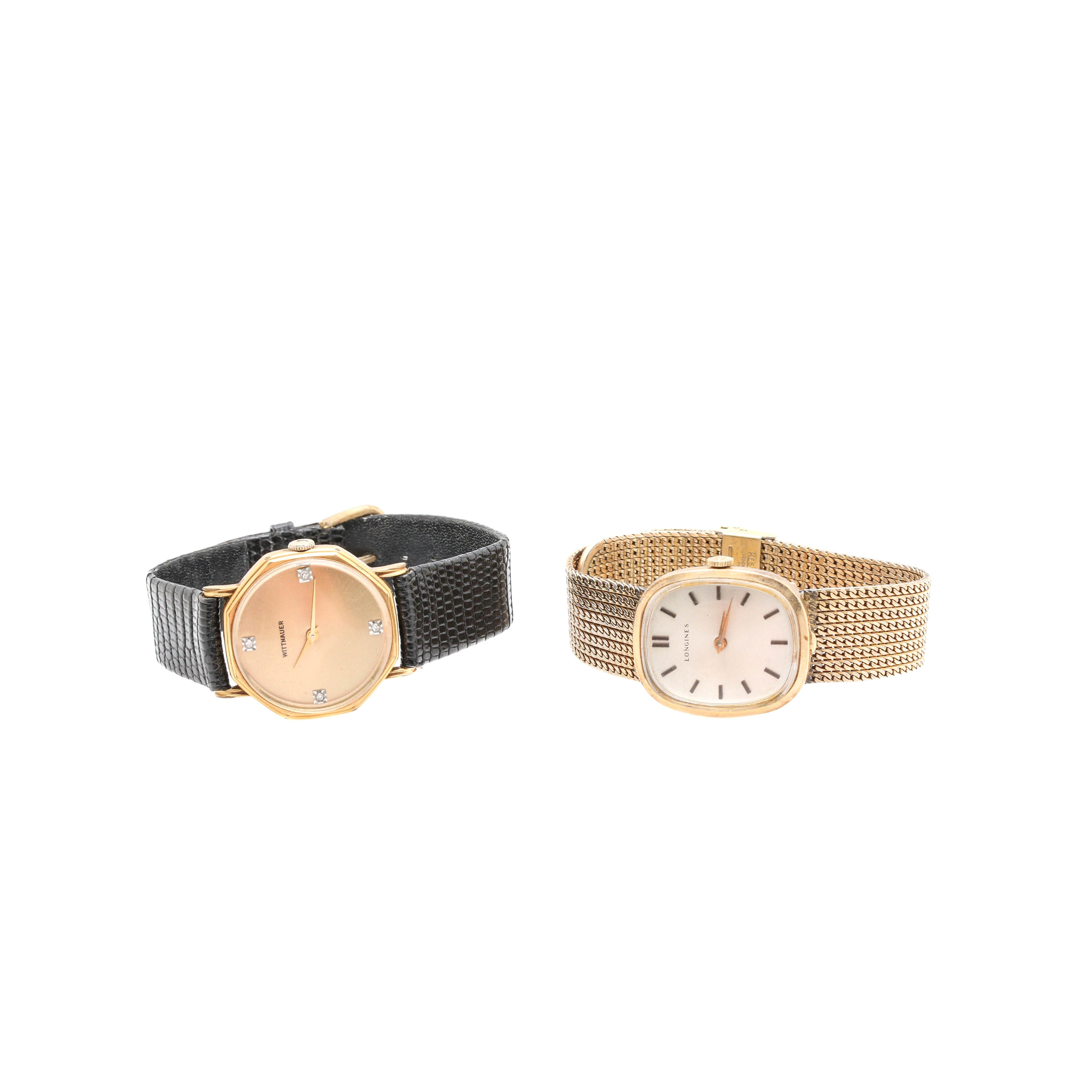 Longines and Wittnauer Gold Tone Wristwatch Selection Including Diamonds