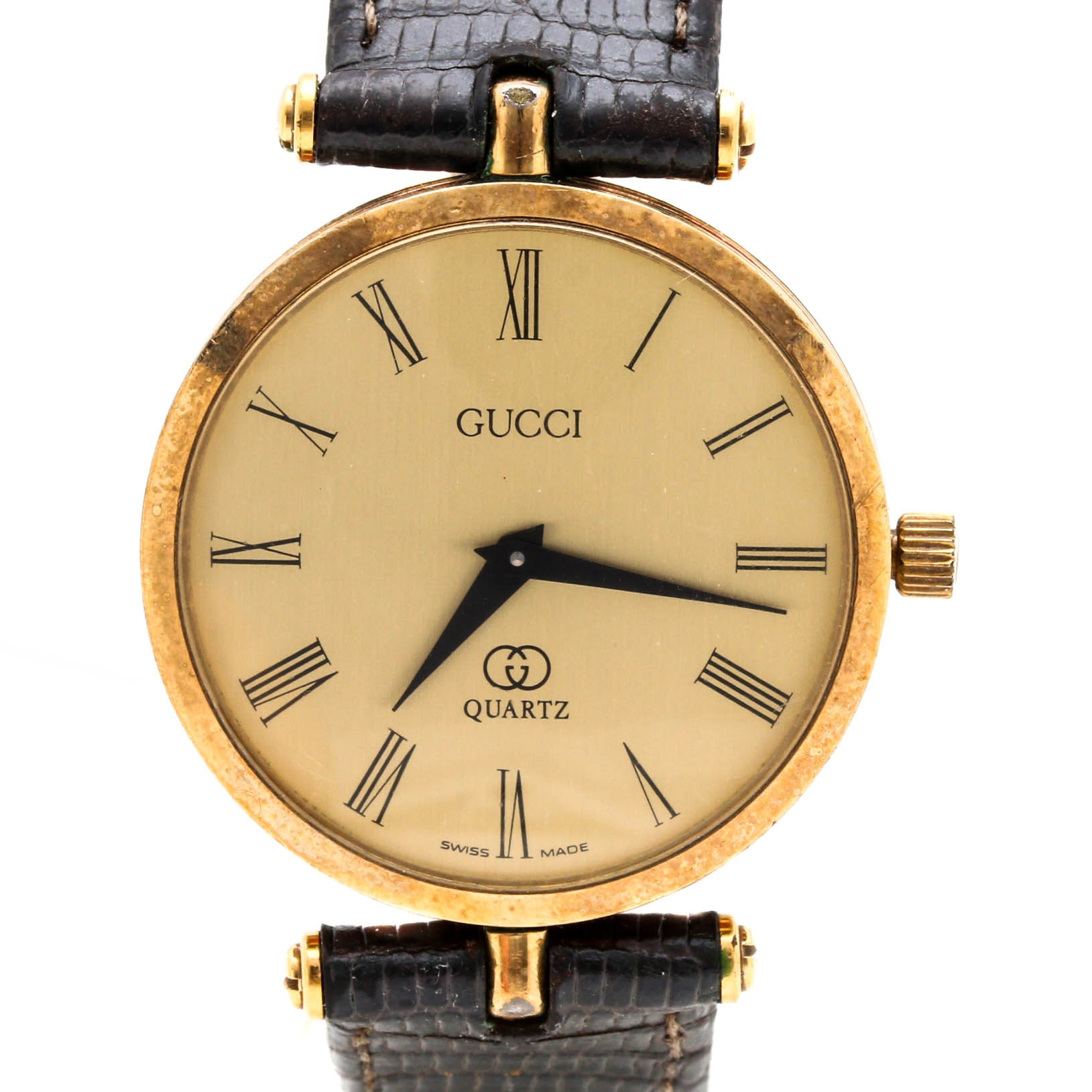 Gucci Red and Green Stripe Enameled Leather Analog Wristwatch
