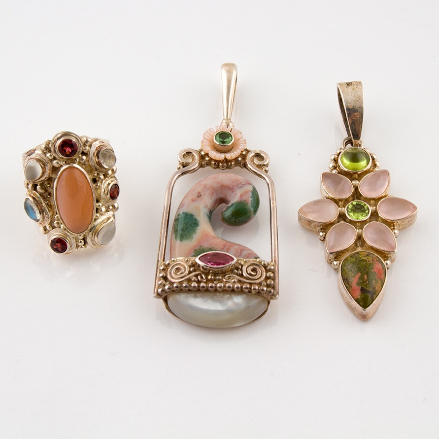 Sajen Sterling Pendants and Ring Featuring Peridot, Rose Quartz and Unakite