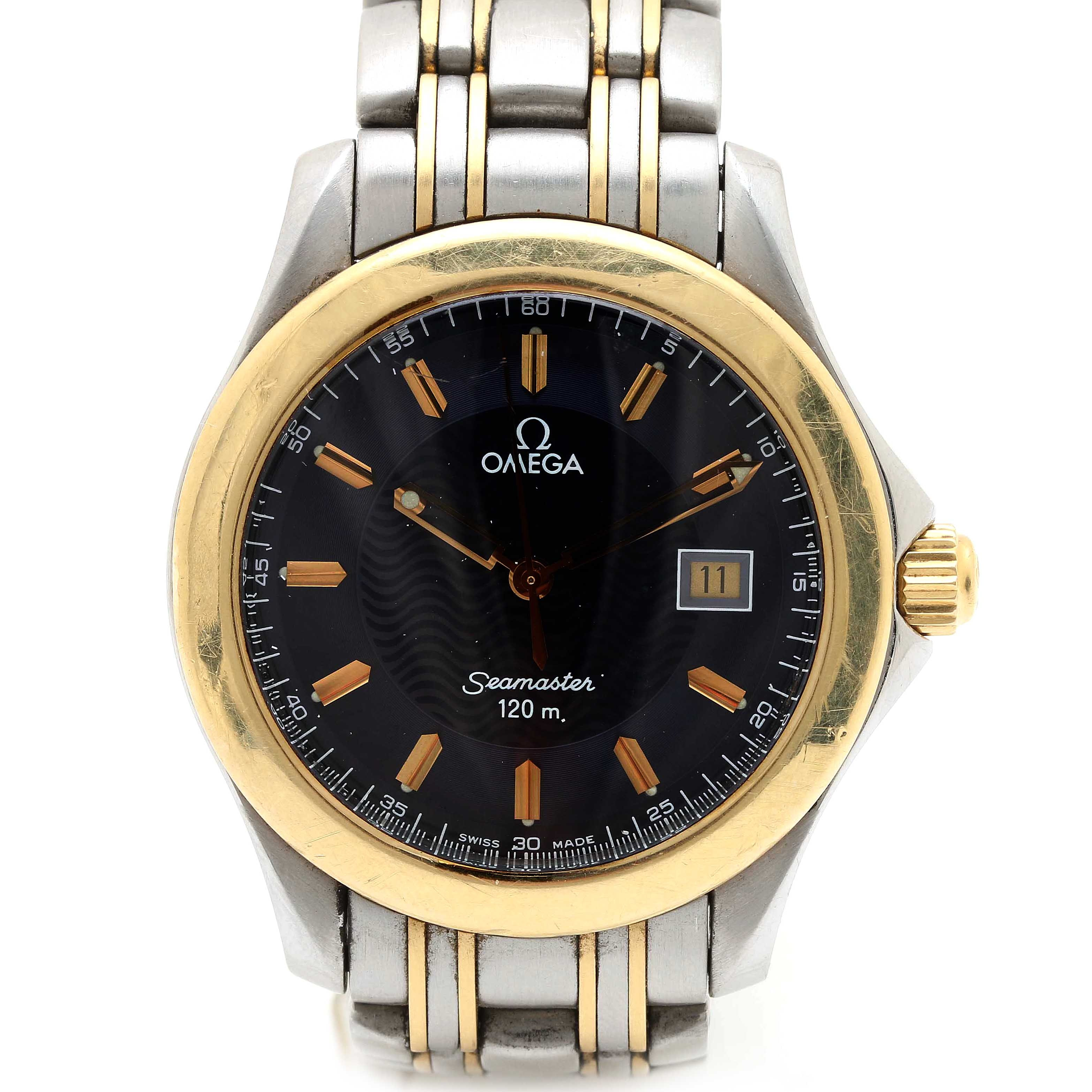 "Omega ""Seamaster"" Two Tone Wristwatch"