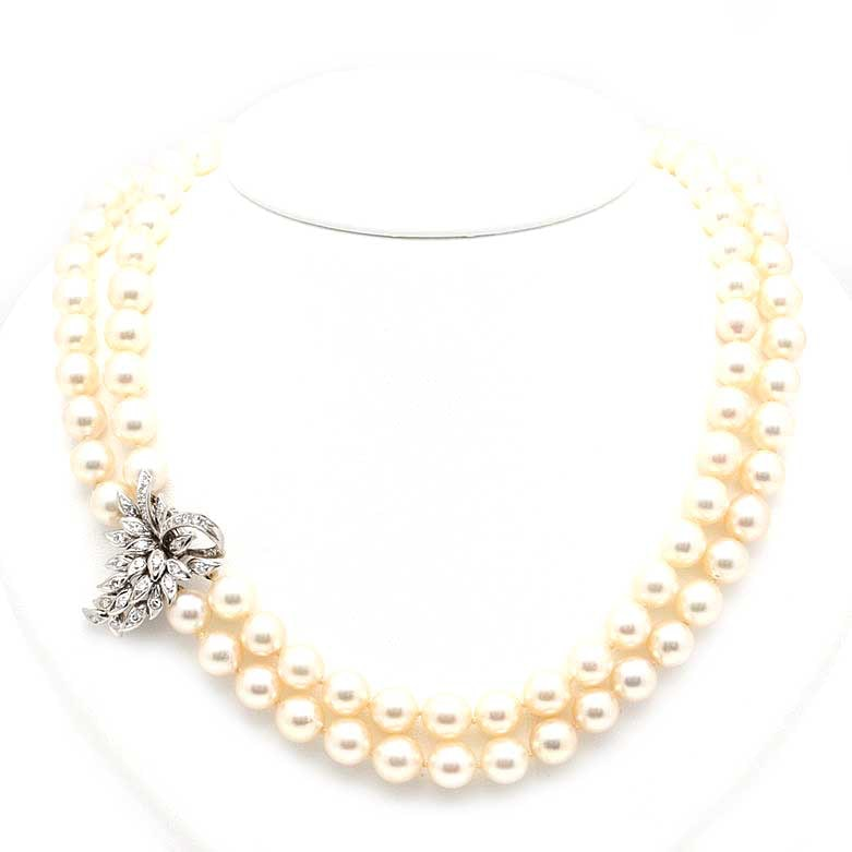 14K White Gold Cultured Pearl and 0.75 CTW Diamond Necklace