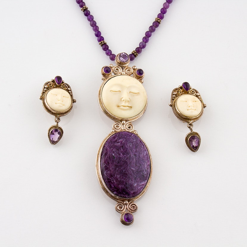 Sajen Sterling Necklace and Earrings Featuring Charoite, Bone and Amethyst