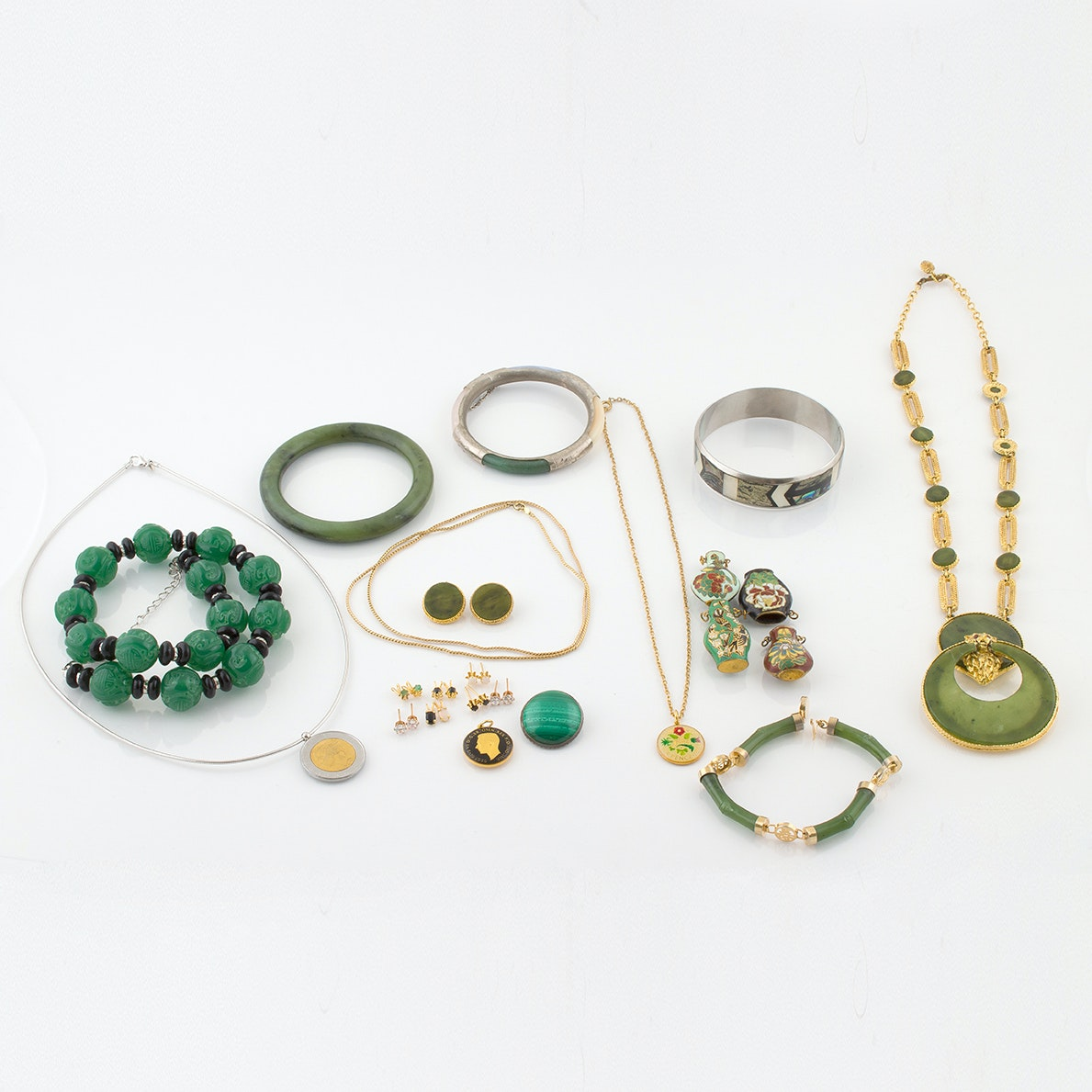 Collection of Beaded and Enamel Jewelry Featuring Agate and Nephrite