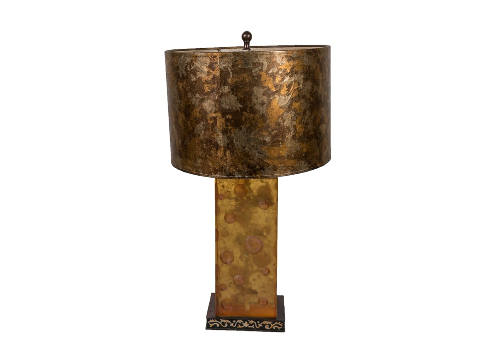 Amber-Tone Contemporary Table Lamp