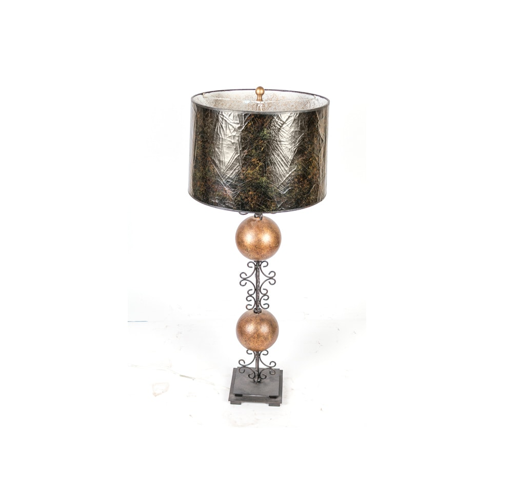 Metal and Bronze-Tone Table Lamp