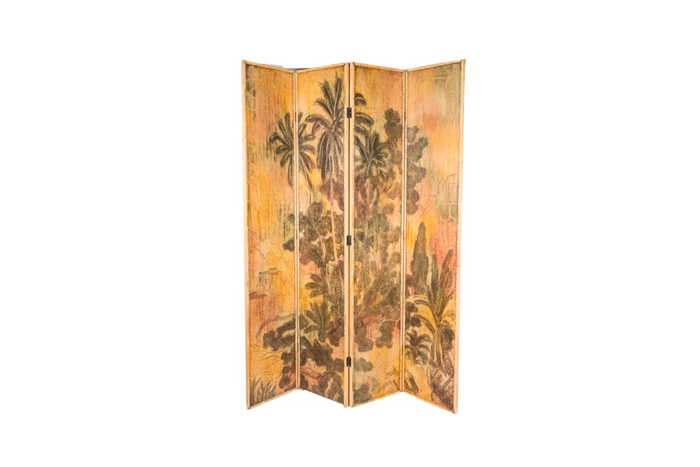 Contemporary Asian Style Painted Screen