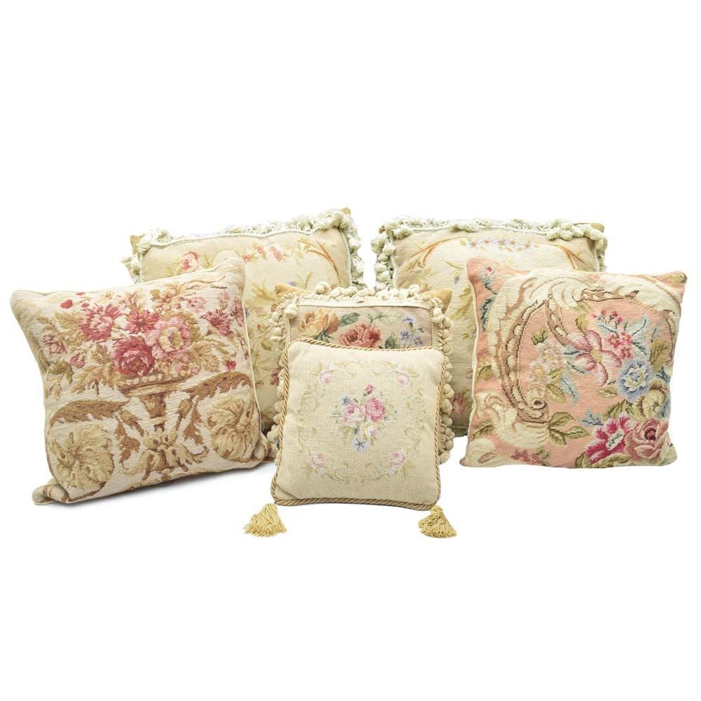 Floral Needlepoint Throw Pillows