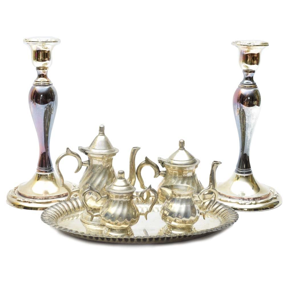 Silver Tone Oneida Candleholders and Petite Tea and Coffee Set
