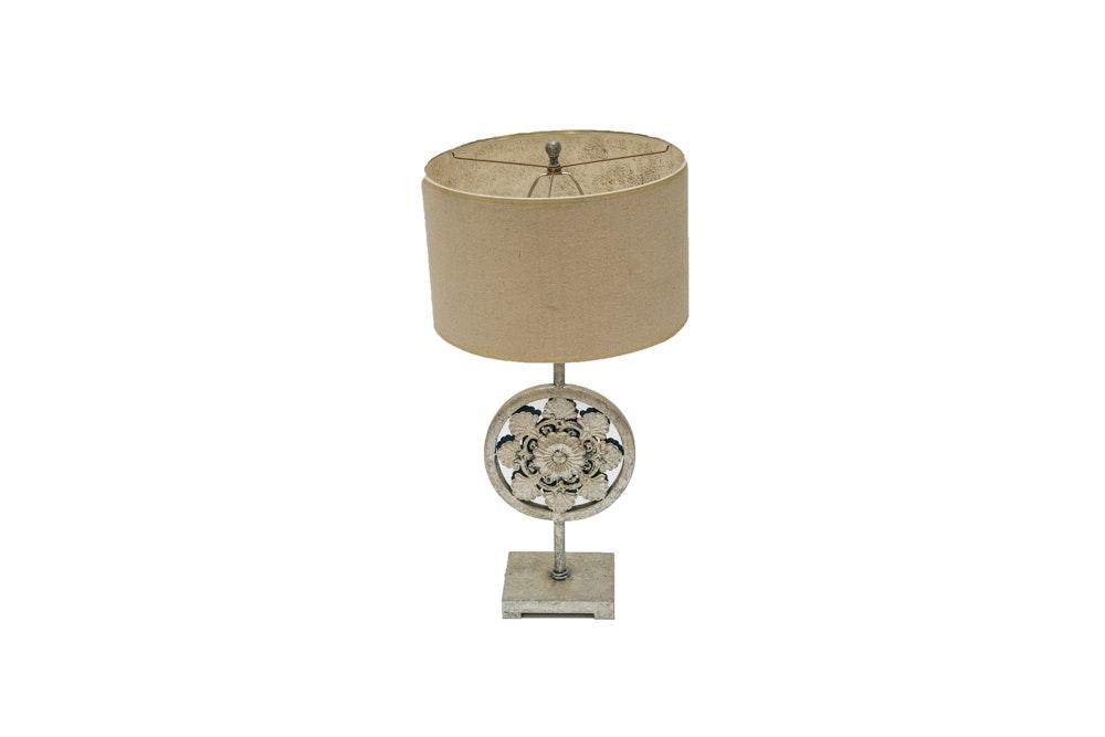 Silver Tone Rosette Medallion Table Lamp