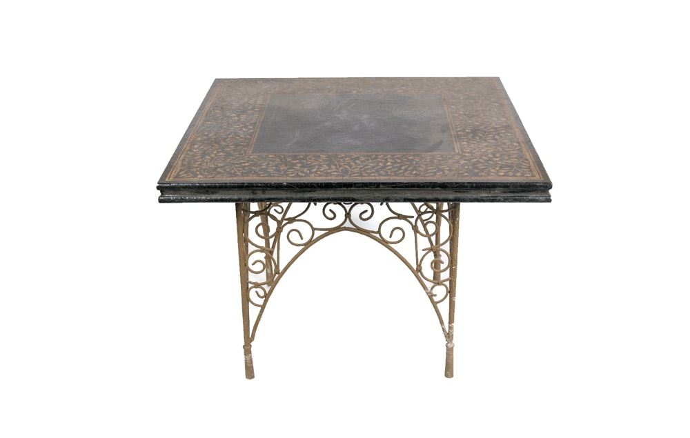 Vintage Table with Gold Tone Leaf Motif