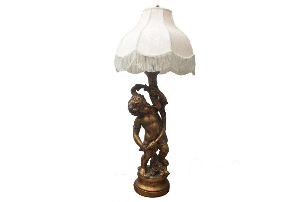 Gold Toned Plaster Cherub Lamp