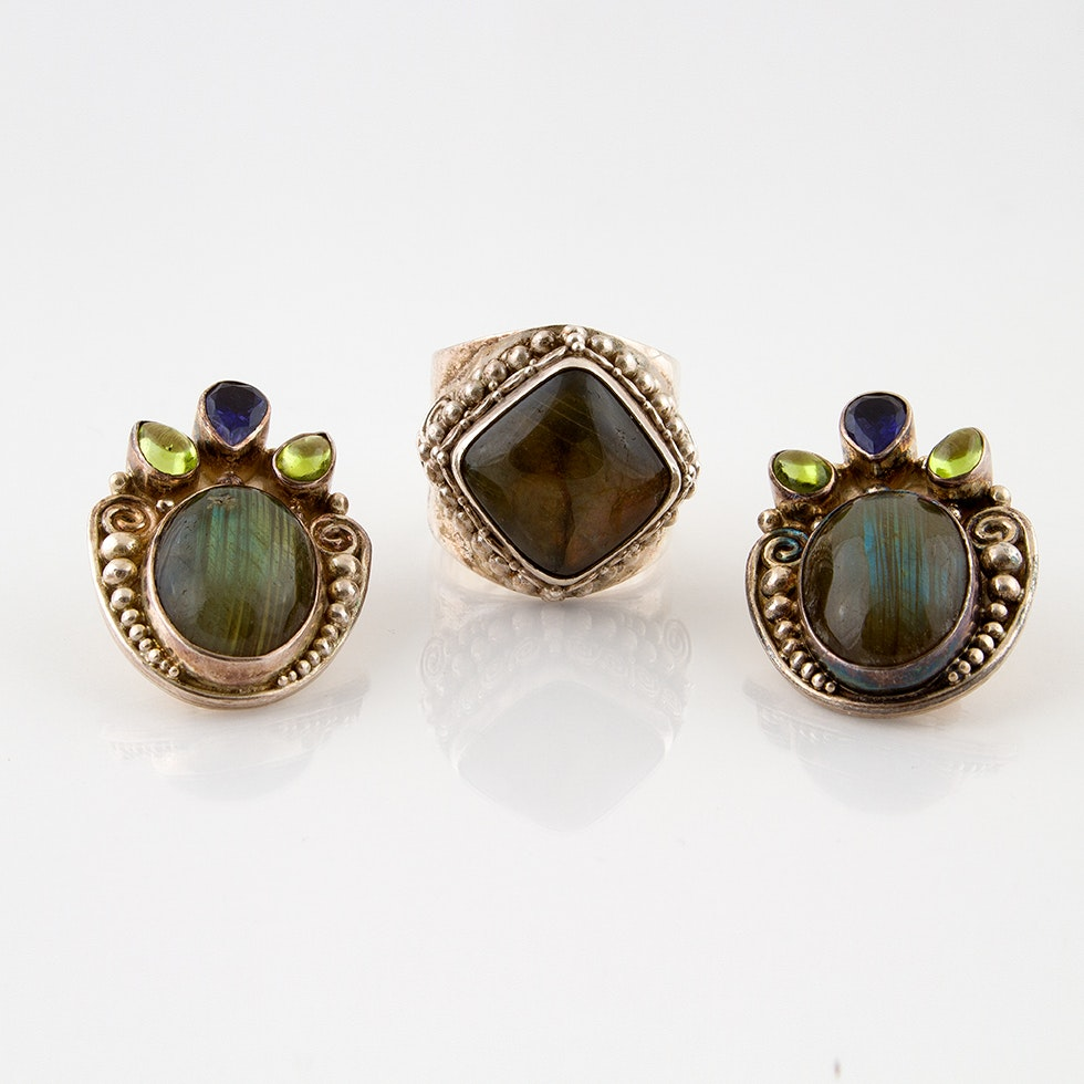 Sajen Sterling Ring and Clip Earrings Featuring Labradorite, Peridot and Iolite