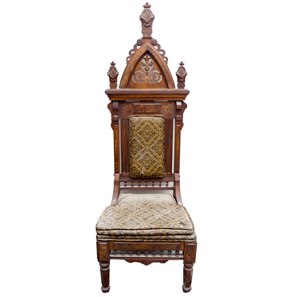 Antique victorian gothic revival style side chair ebth for Victorian gothic style